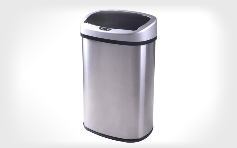 BestOffice TC-1350R 13-Gallon Touch-free Sensor Automatic Stainless-Steel Trash Can Kitchen