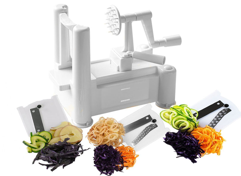 Best kitchen spiralizer which should you buy we review - Paderno world cuisine tri blade spiral vegetable slicer ...