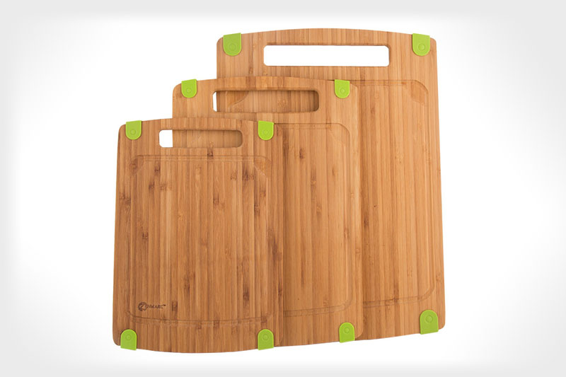 Zenware® 3 Piece Triple-Ply Warp Resistant All Natural Bamboo Cutting Board with Juice Groove
