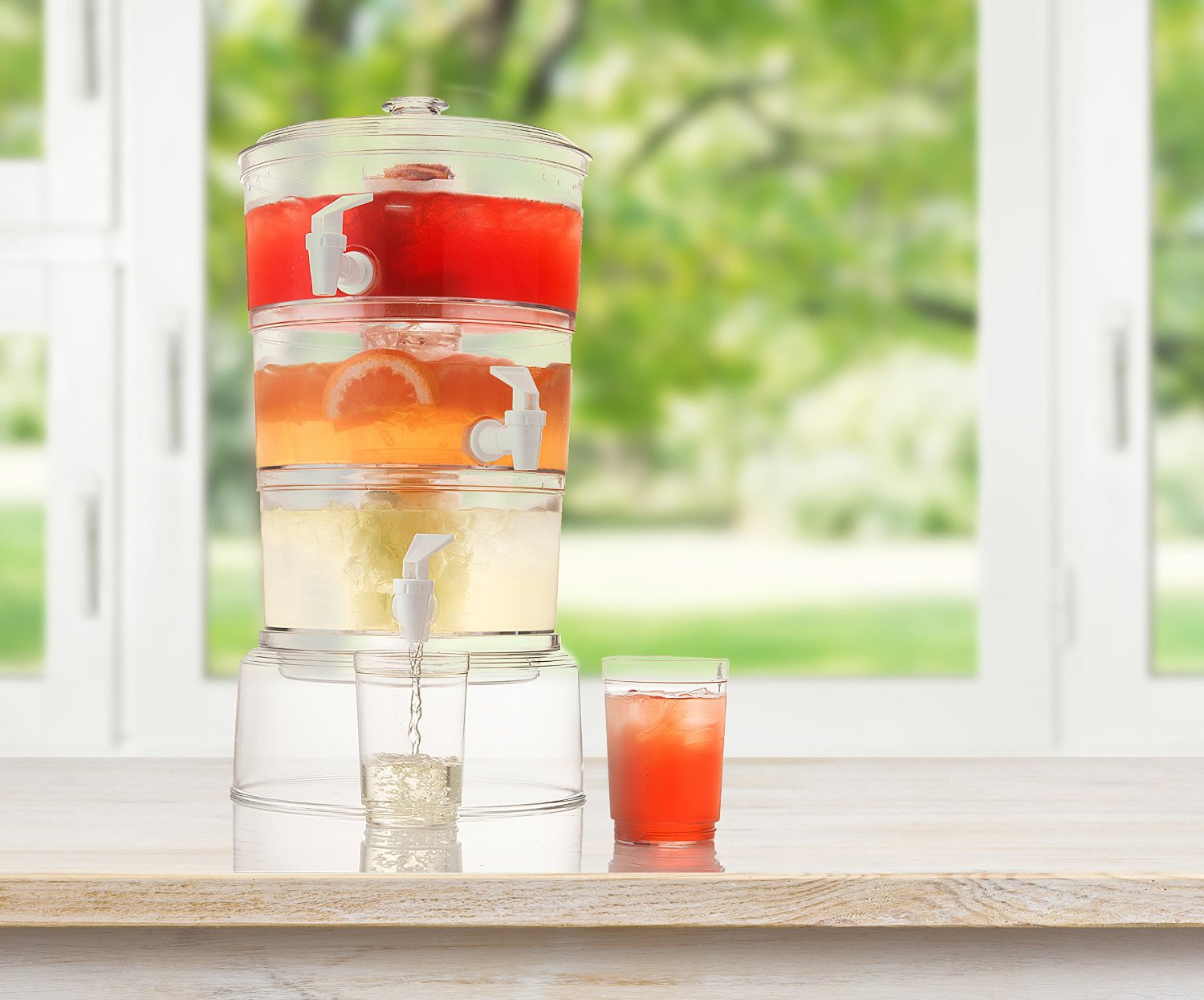 3 Tier Stackable Beverage Dispenser with stand With Fruit Infuser And Ice Tube